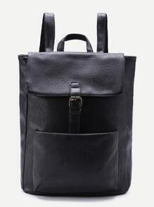 Buckle Detail Flap PU Backpack