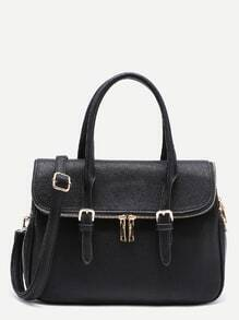 Contrast Zipper PU Satchel Bag