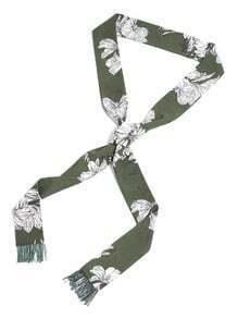 Calico Print Fringe Trim Skinny Scarf