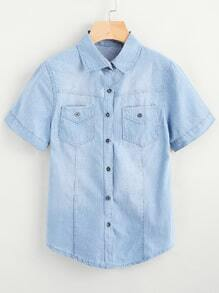 Washed Denim Shirt With Dual Chest Pockets