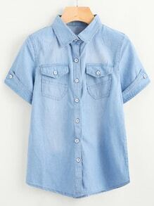 Fold Over Sleeve Washed Denim Shirt