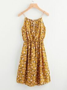 Ditsy Print Random Drawstring Front Elastic Waist Cami Dress