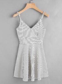 Striped Wrap Front Zip Back Cami Dress