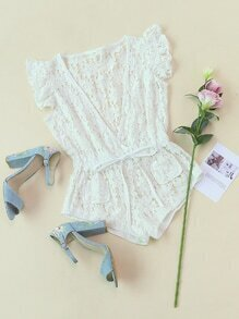 Ruffle Sleeve Wrap Drawstring Waist Floral Lace Romper
