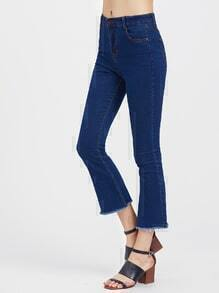 Fray Hem Bell Bottom Crop Jeans