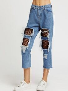 Fishnet Insert Distressed Fray Hem Crop Jeans