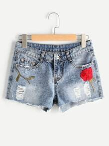 Floral Embroidered Fray Hem Destroyed Shorts