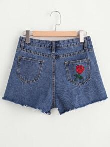 Rose Embroidered Back Fray Hem Shorts