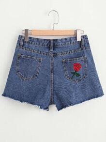 Shorts brodé des roses élimé