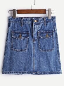 Dual Pockets A Line Denim Skirt