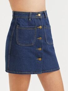 Single Breasted A Line Denim Skirt