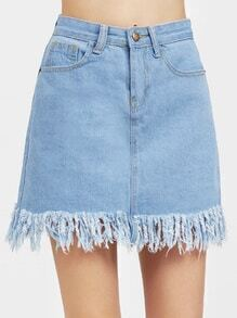 Tassel Hem A Line Denim Skirt