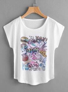 Camiseta estampada de pintada de manga murciélago