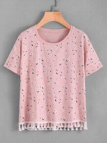 Camiseta con fleco con estampado de margarita de los prados
