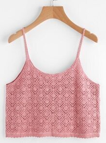 Scalloped Hem Crochet Crop Cami Top