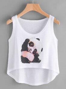 Panda Print Dip Hem Tank Top