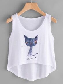 Cat Print Dip Hem Tank Top
