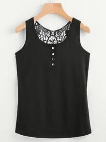 Contrast Lace Back Button Front Top