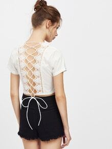 Plunging V Neckline Crochet Lace Up Back Top