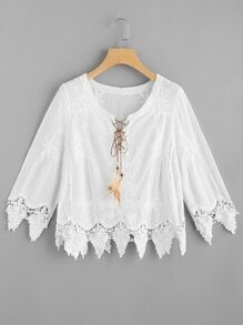 Feather Lace Up Embroidered Crochet Hem Top
