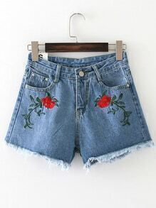 Raw Hem Embroidered Denim Shorts