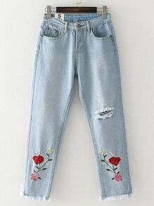 Ripped Detail Flower Embroidered Jeans