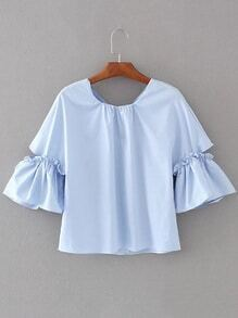 Bell Sleeve Frill Trim Knot Back Top