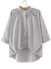 Pinstripe High Low Blouse With Bow Tie Detail
