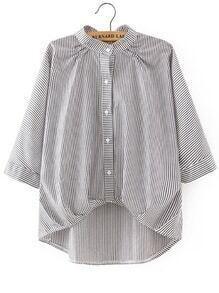 Blusa irregular de rayas con diseño de lazo