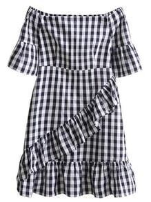 Boat Neckline Checkerboard Frill Trim Dress