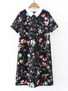 Contrast Collar Flower Print Dress