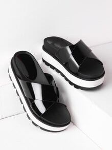 Criss Cross Patent Leather Flatform Slides