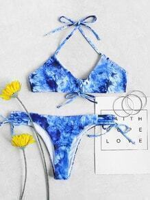 Tie Dye Print Lace Up Halter Bikini Set