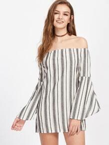 Bardot Striped Bell Sleeve Dress
