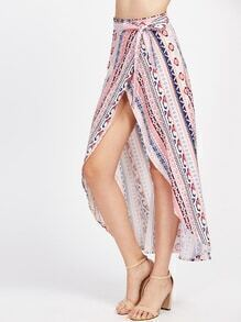 Tribal Print Wrap Tie Side Maxi Skirt