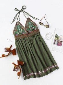 Halterneck Embroidery Backless Dress