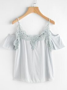 Cold Shoulder Crochet Trim Top