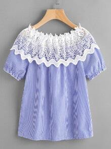 Contrast Crochet Lace Vertical Striped Blouse