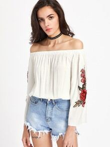 Bardot Embroidered Applique Top