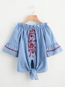 Embroidery Frill Trim Knotted Hem Denim Top