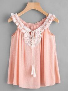 Contrast Crochet Trim Tassel Tie Top