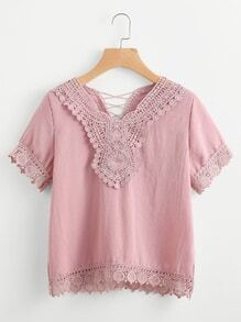 Contrast Crochet Trim Criss Cross Blouse