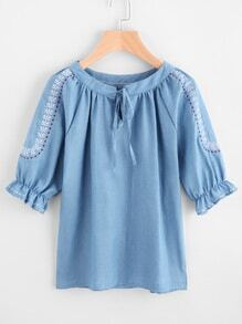 Embroidery Tie Neck Frill Cuff Top