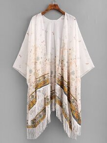 Calico Print Fringe Hem Chiffon Kimono