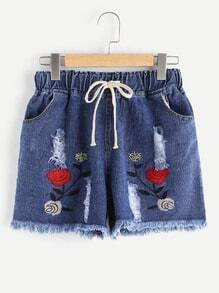 Embroidery Ripped Frayed Hem Denim Shorts