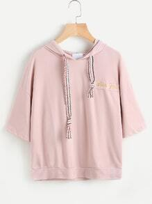 Embroidered Tape Detail Drop Shoulder Hooded Tee