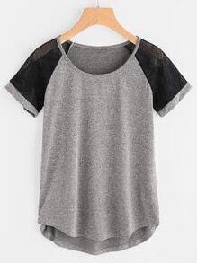 Camiseta de manga raglán contraste con malla