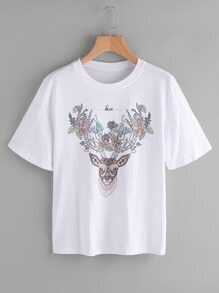 Reindeer And Flower Print Tshirt
