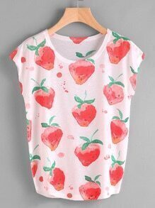 Watercolor Strawberries Print Tee