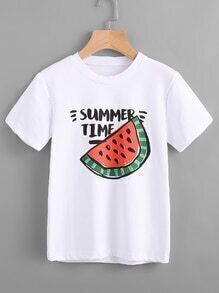 Camiseta con estampado de dibujo y letras
